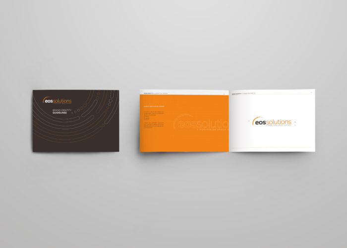 Mockup of horizontal landscape for business, isolated on gray background.The template of the first booklet is open on a U-turn, the second is closed, shows the back.Empty bifold with realistic shadows